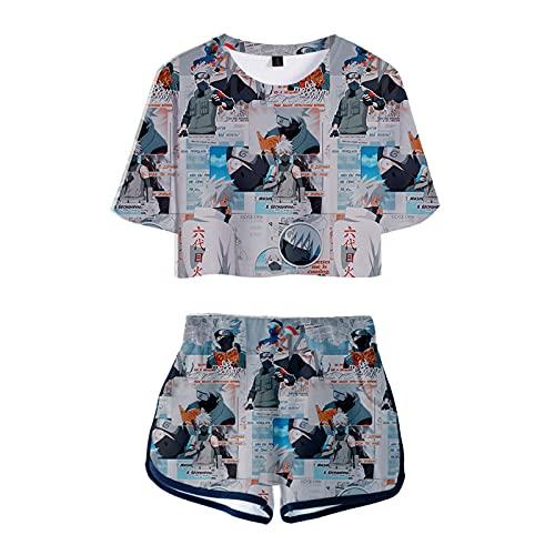 WWZY Mujer Pijamas Conjunto De 2 Piezas Naruto Hatake Kakashi Anime Camiseta Transpirable Fitness Crop Top T-Shirt Short Verano Ropa Deportiva,M