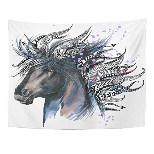 Decor Wall Tapestry Blue Horse Unicorn Animal Head for Anti Stress Coloring Page Ethnic Tattoo Tee Colorful Painting 60 X 50 Inches Wall Hanging Picnic for Bedroom Living Room Dorm 60x40in(100x150cm)