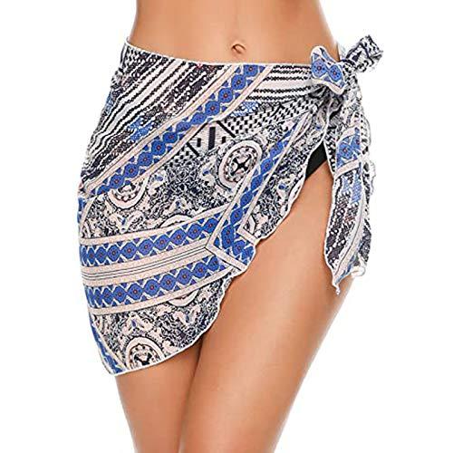 Traje de baño para mujer, vestido envolvente, falda, traje de baño, sarong para vacaciones, natación azul L
