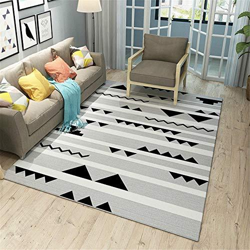 WQ-BBB Alfombra Cocina Lavable Antideslizante Fácil de Limpiar Estilo geométrico a Rayas Blanco Gris Negro Simple alfombras Salon 40X60cm