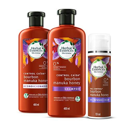 Herbal Essences Shampoo y Acondicionador Bío:Renew Bourbon Manuka Honey 400 ml c/u y Crema con Infusión de Aceite 151 g