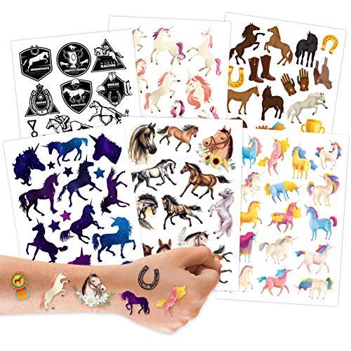 100 Tattoos zum Aufkleben - Hautfreundliche Kindertattoos Pferde - kindgerechte Designs - als Geburtstagsmitgebsel oder Geschenkidee - Vegan