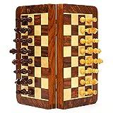 HJHJ ajedrez Creativo Conjunto De Ajedrez 9.8'Conjunto De Madera Plegable Conjuntos De Ajedrez De Palisandro con Ajedrez Magnético Y Tablero De Regalos de ajedrez (Color : Medium Chess Set)