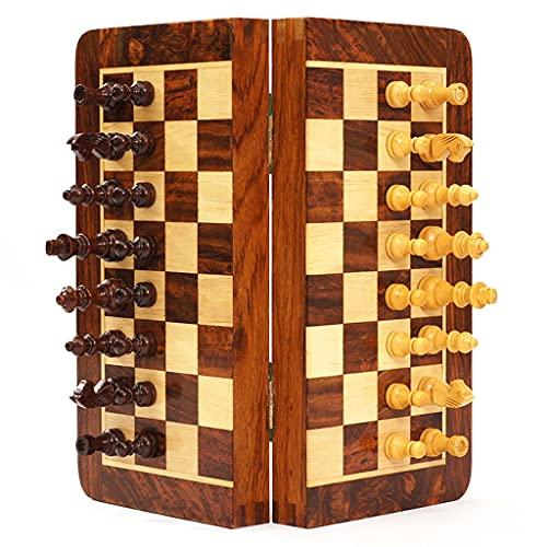HMEI Regalo de ajedrez Conjunto De Ajedrez 9.8'Conjunto De Madera Plegable Conjuntos De Ajedrez De Palisandro con Ajedrez Magnético Y Tablero De (Color : Medium Chess Set)