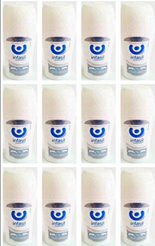Infasil Lot de 12 déodorants pour personne Roll On Neutre Triple Protection 50 ml