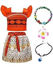 Jurebecia Disfraz Moana Vestido Moana para Niñas Conjuntos de Aventura Conjunto para niñas Vestidos de Princesa Ropa para niños Fiesta de cumpleaños de Halloween