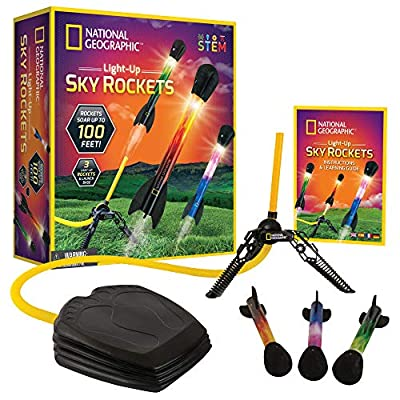 NATIONAL GEOGRAPHIC Air Rocket Toy – Ultimate LED Rocket Launcher for Kids, Stomp and Launch The Light Up, Air Powered, Foam Tipped Rockets up to 100 Feet, Great Toy for Kids Outdoor Activities from Discover with Dr. Cool
