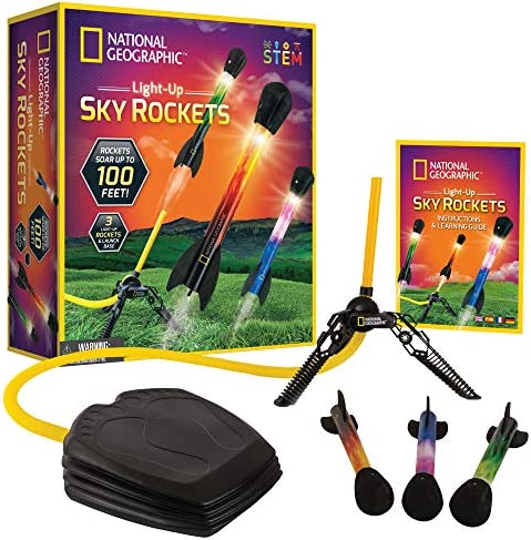 NATIONAL GEOGRAPHIC Air Rocket Toy Ultimate LED Rocket Launcher for Kids Stomp and Launch the product image