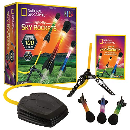 NATIONAL GEOGRAPHIC Air Rocket Toy – Ultimate LED Rocket Launcher for Kids, Stomp and Launch the Light Up, Air Powered, Foam Tipped Rockets up to 100 Feet