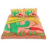 Juego de Funda nórdica Cactus Sombrero Sombrero Mexicano Maracas Chili Juego de Ropa de Cama Decorativo de 3 Piezas con 2 Fundas de Almohada Fácil Cuidado Anti-alérgico Suave Suave
