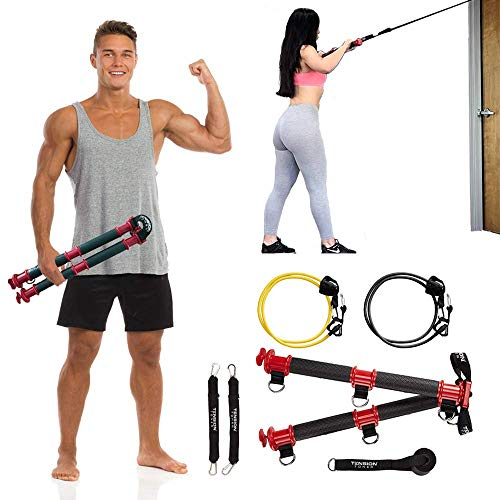 TENSION TONER - Patented Home Gym - Best Portable Full Body Workout - Exercises Stabilizer and Pulling Muscles (Basic - 2 Bands)