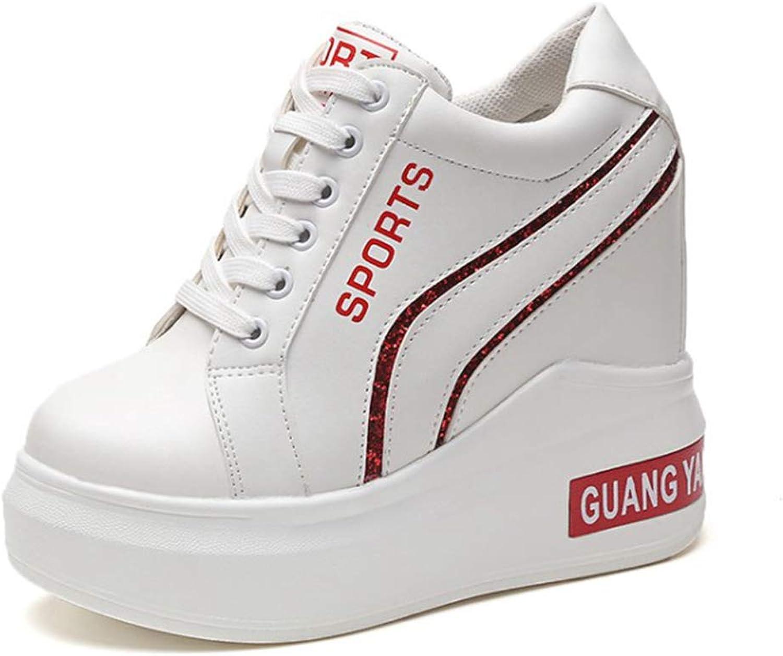 Btrada Women High Top Wedge Sneaker Waterproof Toning Non-Slip Platform Casual High Heel 12CM