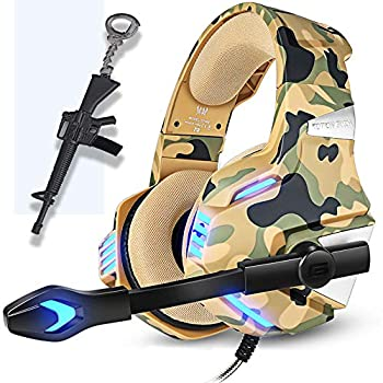 Camo Gaming Headset for PS4 Xbox One PC Pro Camouflage Over Ear Gaming Headphones Noise Canceling Mic Stereo Bass Surround Sound for Nintendo MAC Laptop,Gun Keychain Gift for Teenager camo