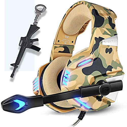 Camo Gaming Headset for PS4 Xbox One PC, Pro Camouflage Over Ear Gaming Headphones Mic,Noise Canceling &Stereo Bass Surround Sound for Nintendo Gamecube MAC Laptop,Gun Keychain Gift for Teenager