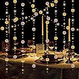 LAMEK 5pcs Champagne Oro Guirnalda de Lentejuelas de Papel Redonda Puntos Circulo Decoraciones Colgante Papel Estrellas Guirnaldas Banner para Boda Bebé Duchas Fiesta de Cumpleaños, 10M