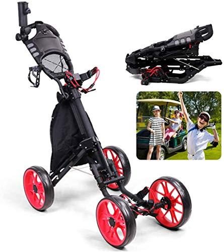 HFSKJWI Faltbarer Golf-Trolley, 4 Räder, einfach in nur zwei Schritten zusammenklappbar, für vier Jahreszeiten.