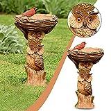AmazingDays Gartendeko Vogelfütterer Für Wildvögel Vogel Futterstationen Futtersäule Mit Auffangschale Wetterfest Für Garten Terrasse Boden Harz Ornamente Deko 1pc