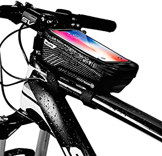 Option Bike Frame Bag, Waterproof Bike Pouch Bag, Cycling Front Top Tube Touchscreen Sun Visor Storage Bag for iPhone 8 Plus/X/XS Max/XR/Samsung S8/S9 Plus up to 6.6 Inch