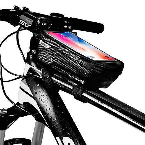 Niluoya Fahrrad Rahmentasche, Fahrrad Handyhalterung Wasserdicht mit TPU Touchscreen Kopfhörerloch, Fahrradtasche Rahmen Oberrohrtasche Handytasche Fahrradrahmentasche für Smartphone bis 6.5 Zoll