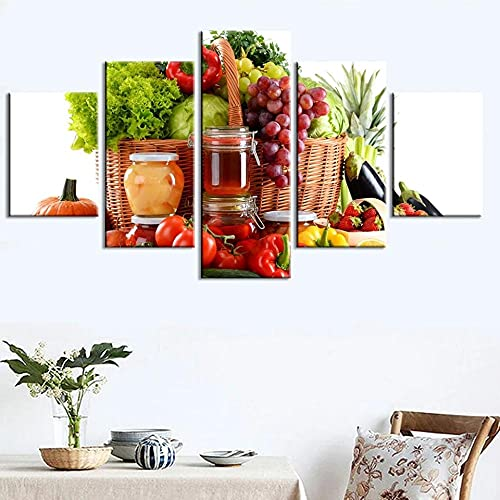 wangdazhuang 5 Paneles Cuadros Modernos Baratos Cuadro Salon Comida Vegetal Cuadro En Lienzo Decoración del Hogar Enmarcada Art-150 * 80Cm