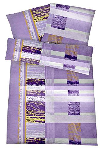 Carpe Sonno Bügelfreie Seersucker Bettwäsche 135x200 cm - Leichte Baumwoll Bettbezüge mit schönem Muster für den Sommer - Modern gemusterte Bettwaren-Garnitur - Lila