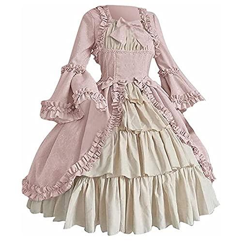 TMOYJPX Disfraz Vestido Mujer Medieval Gótico Palacio - Disfraces Medievales Princesa Reina Bruja, Vestidos de Fiesta para Mujer Tallas Grandes de Halloween (Rosado, M)