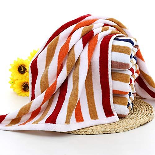 CMZ Pure algodón Cortado Terciopelo Tira de Color Toalla Facial Raya Absorbente Toalla Simple Pareja Toalla de algodón Diaria (34x75 cm)