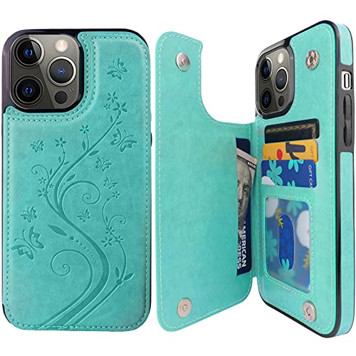 Pretocter for iPhone 13 Pro Max Wallet Case with Card Holder, Butterfly Flower Embossed Faux Leather Kickstand Card Slots Case, Handmade...