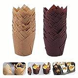 Tazas de Papel de Pastel de Tulipán, 200Pcs Estuches para Muffins Moldes Magdalenas Papel para Cafeterías, Pastelerías,