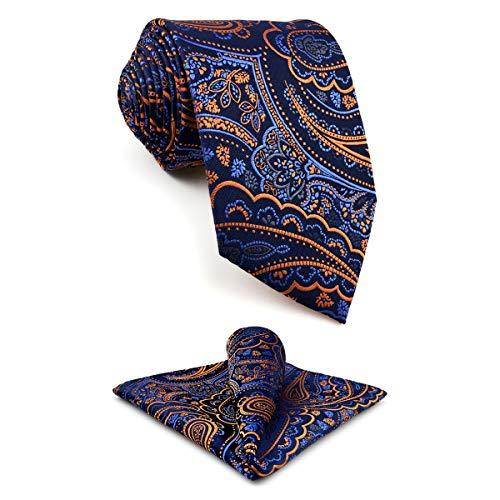 shlax&wing S&W Herren Ties Krawatte Navy Dark Azul Cachemir Classic 147cm y Einstecktücher
