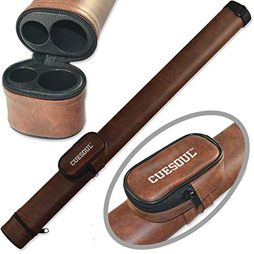 CUESOUL 1x1 Hard Pool Cue Billiard Stick Carrying,Brown Cue Case 1x1 Holds...