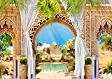 wandmotiv24 Fototapete Pyramiden Ägypten , XL 350 x 245 cm - 7 Teile, Fototapeten, Wandbild, Motivtapeten, Vlies-Tapeten, Palmen, Säule, Orient M1225