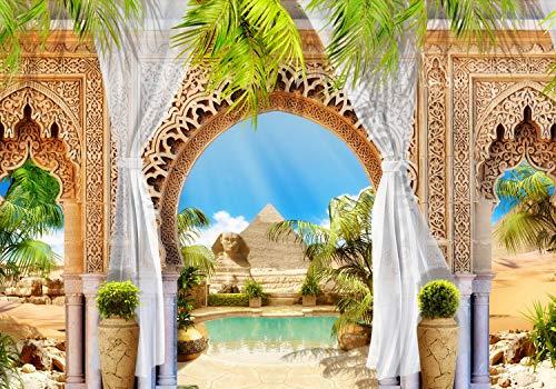 wandmotiv24 Fototapete Pyramiden Ägypten XS 150 x 105cm - 3 Teile Fototapeten, Wandbild, Motivtapeten, Vlies-Tapeten Palmen, Säule, Orient M1225