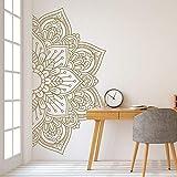 N / A LSMYM Mandala en Demi-Stickers muraux pour Chambre Chevet peintures murales Autocollants muraux Amovibles Autocollant pour méditation Yoga Style forêt Vert M 111 cm X 56 cm