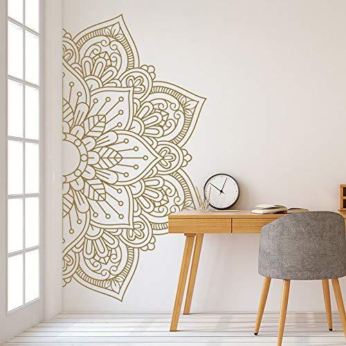 LSMYE Mandala in Half Wall Aufkleber für Schlafzimmer Nachttische Wandbilder Abnehmbare Wandtattoos Aufkleber für Meditation Yoga Style lila M 111cm x 56cm