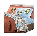 ALAMBRA Juego de sábanas para cama de matrimonio o individual, diseño y fantasía de colores (color 3, matrimonio)