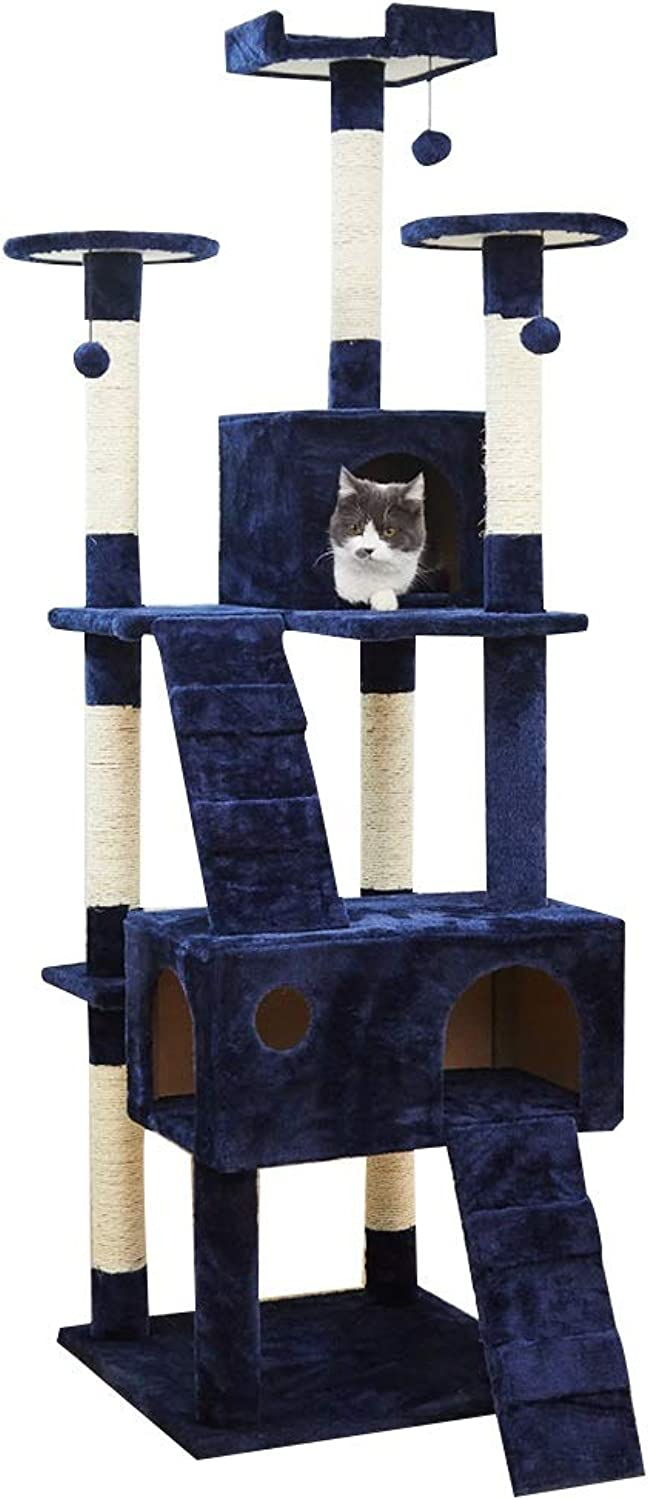 LXHONGCat tree Cat Climbing Frame Fivelayer Structure Thickened Leg Stable Go To Bed Comfortable,3 colors (color   bluee, Size   50x50x170cm)