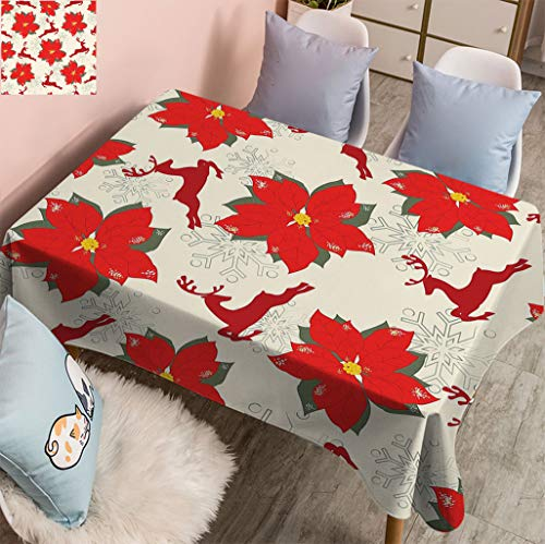 Fogoodecor Christmas Spillproof Rectangle Tablecloth, Poinsettia Flowers with Galloping Reindeers and Snowflake Figures Fabric Table Cloth for Parties Weddings, 52' W x 70' L Scarlet Ruby Beige