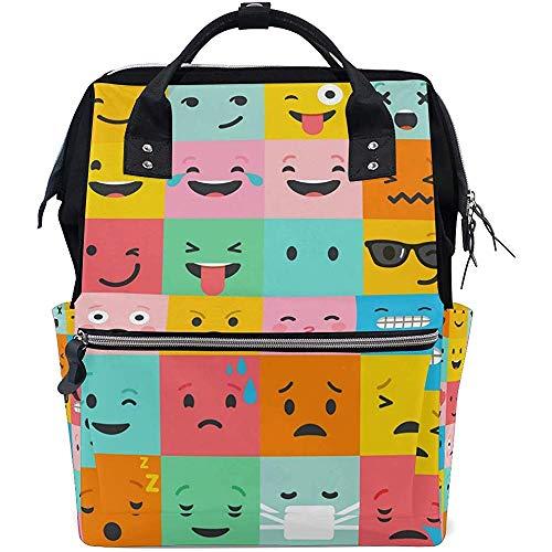 Daypack Funny Face Backpack Zipper Diaper 28X18X40Cm Unisexe Grande Capacité Bébé Sacs Multi-Fonction Casual Voyage Sacs À Dos Maman Papa