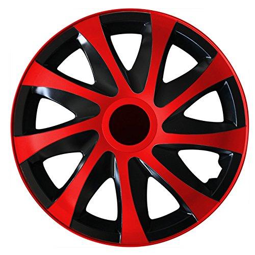 (Größe wählbar) 15 Zoll Radkappen / Radzierblenden DRACO Bicolor (Schwarz-Rot ) passend für fast alle Fahrzeugtypen – universal