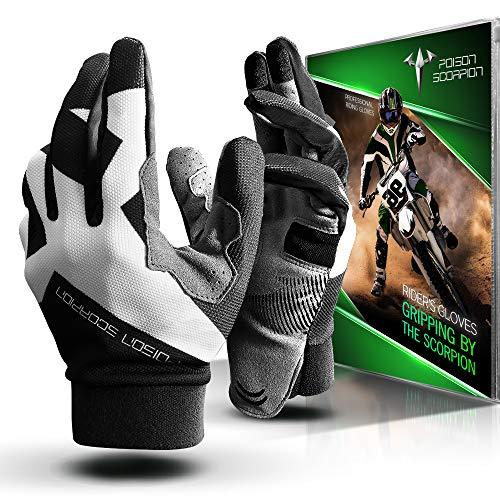 POISON SCORPION Motorcycle Motocross Dirt Bike Gloves for Men Women | Black M