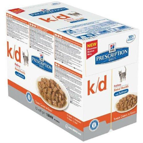 Hill's Prescription Diet Katzen-Nierenpflege K-D Beutel Salman, 12 x 85 g
