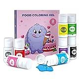 JIM'S STORE Colorante Alimentario en gel 8*12.5ml, Set de Colorante Alta Concentración para...