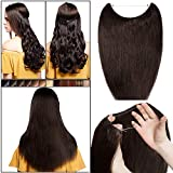 Extension Cheveux Fil Invisible Transparent a Enfiler Rajout Cheveux Naturel Remy Cheveux Humain Sans Clips (#2 CHATAIN FONCE, 16'/40cm-60g)