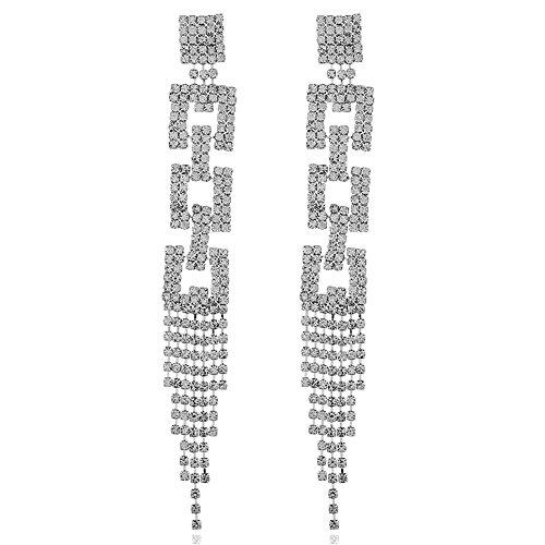 MEEOI exageración de la moda Ear Stud Earrings Ear Hoop 925 de plata esterlina para mujer, tres capas con borla de strass Pendientes largos