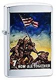 Zippo U.S. Marine Corps, Poster-Now All Together. Encendedor de Bolsillo Resistente al Viento, Unisex Adulto, Cromo Cepillado, Talla única