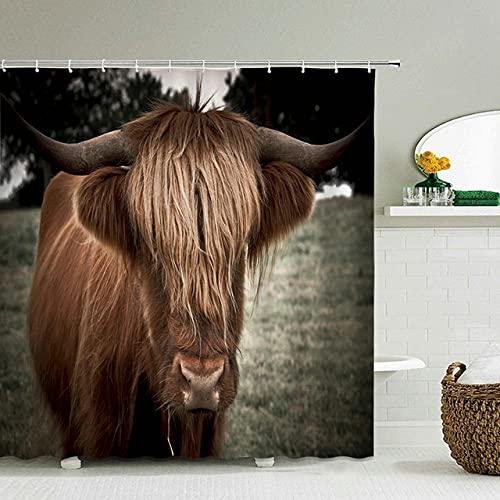 None brand Funny Duschvorhang 3D BadvorhäNge AFFE Oricutan Tierdruck Wasserdicht Polyester FüR Badezimmer Dekor Groß-W150xh180cm
