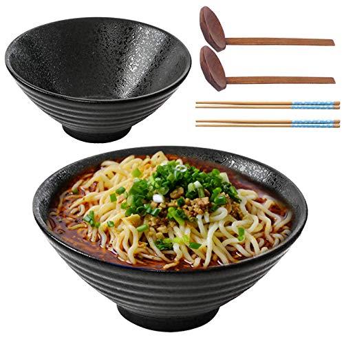 2 Sets Japanische Keramik Suppenschüssel, Müslischale, Ramenschüssel mit passendem Löffel und Essstäbchen, Geschirr, Küche für Suppe, asiatische Nudeln, Haushalt, leicht, Geschirrspüler, Mikrowelle