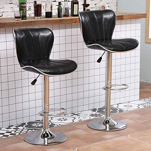 Home Equipment Taburetes de bar negros brillantes Juego de 2 sillas de taburete ajustable de cuero sintético con elevador de gas giratorio con respaldo reposapiés para barra de desayuno y bar Tabur