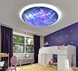 LAKIQ Beautiful Space Planet Modern Dimmable LED Flush Mount Ceiling Light Fixture with Remote Universe Metal Glass Close to Ceiling Lighting for Boys Girls Room Children's Bedroom(Stepless Dimming)